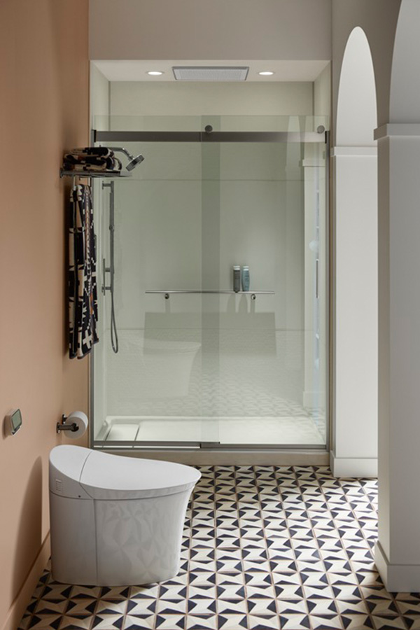 Intelligent toilet with bidet functionality and a modern, wall-hung design in a contemporary bathroom setting
