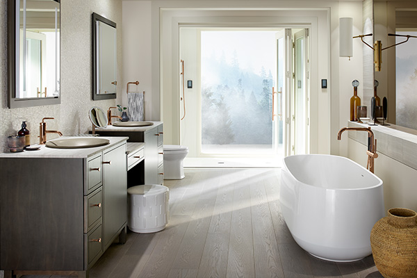 Transitional style bathroom in a neutral color palette