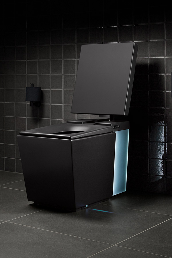 Black Numi toilet in contemporary black bathroom