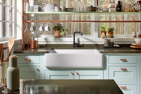 Nature-inspired kitchen with pastel palette