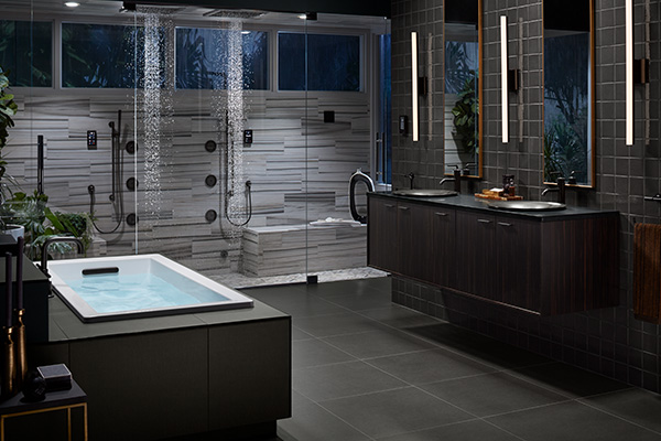 Dramatic technology-rich black and white bathroom